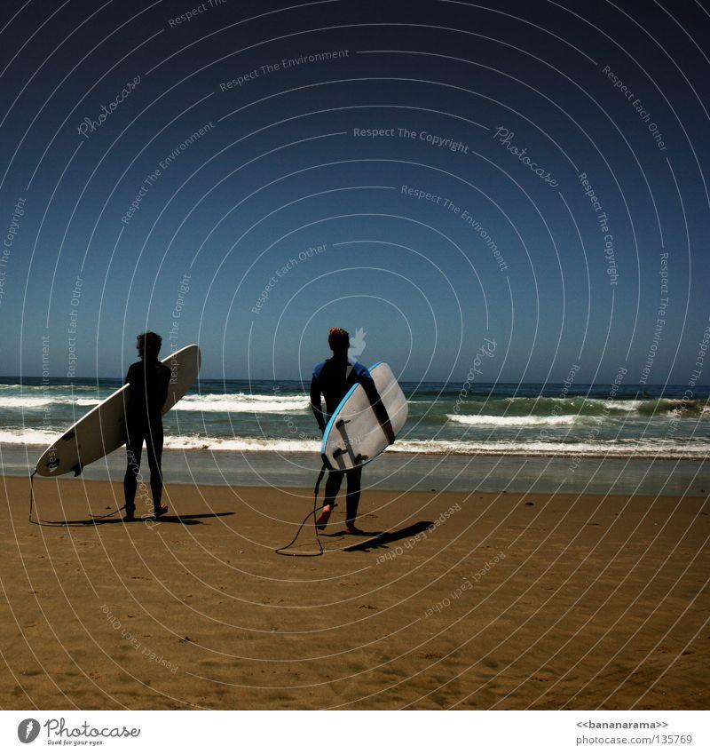 surfin' USA Strand Surfbrett Wellen Horizont Sommer Wassersport Funsport Himmel Wetsuit Ocean Ferne blau San Diego County Pacific Beach Surfen