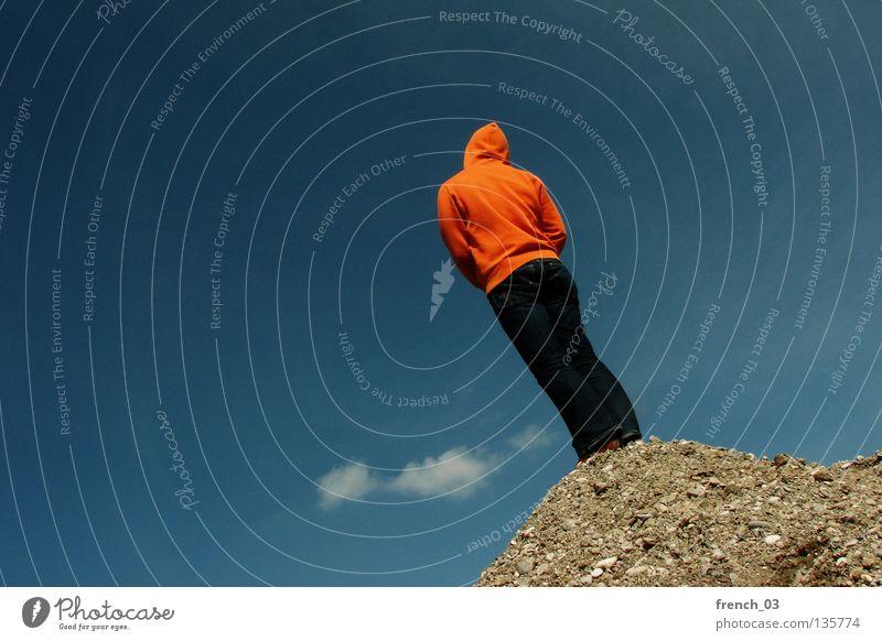 warten aufs update Mensch Hand Himmel Jugendliche weiß blau Wolken Einsamkeit Farbe dunkel Berge u. Gebirge Freiheit grau Stein Traurigkeit See