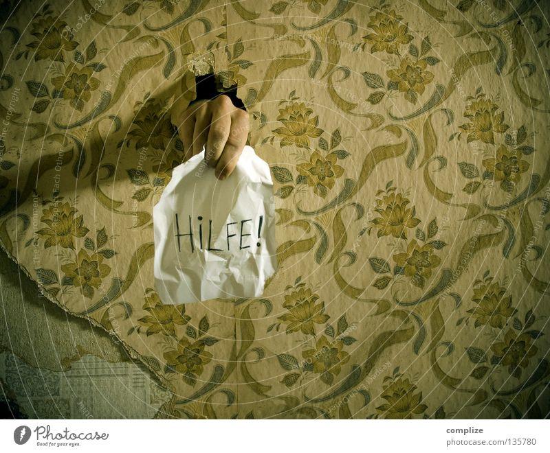 Hilfe! Einsamkeit Haus Erholung Raum Innenarchitektur Wohnung Angst Freizeit & Hobby Design Finger kaputt Baustelle retro Wunsch Markt Idee