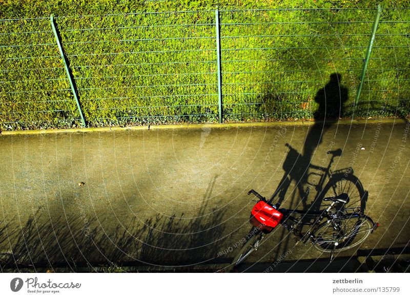 Schattenradakrobat Mensch grün Erholung Spielen Garten Park Fahrrad Freizeit & Hobby Zaun Fahrradtour Gartenzaun Arbeitsweg Maschendrahtzaun Erholungsgebiet Drahtzaun