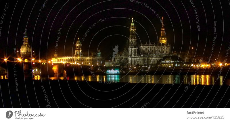 Lichter in der Stadt Dresden Nacht Hofkirche Panorama (Aussicht) Augustusbrücke Brühlsche Terrasse Straßenbeleuchtung Promenade Sachsen historisch Stadtzentrum