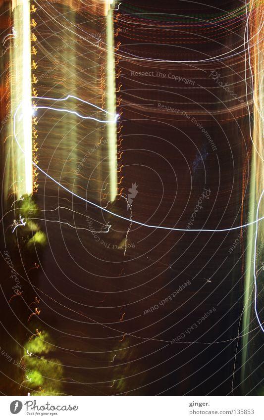 Störungen haben Vorrang Streifen dunkel hell braun gelb grün orange schwarz weiß durcheinander gestört Bogen Punkt Lichterscheinung Textfreiraum unten