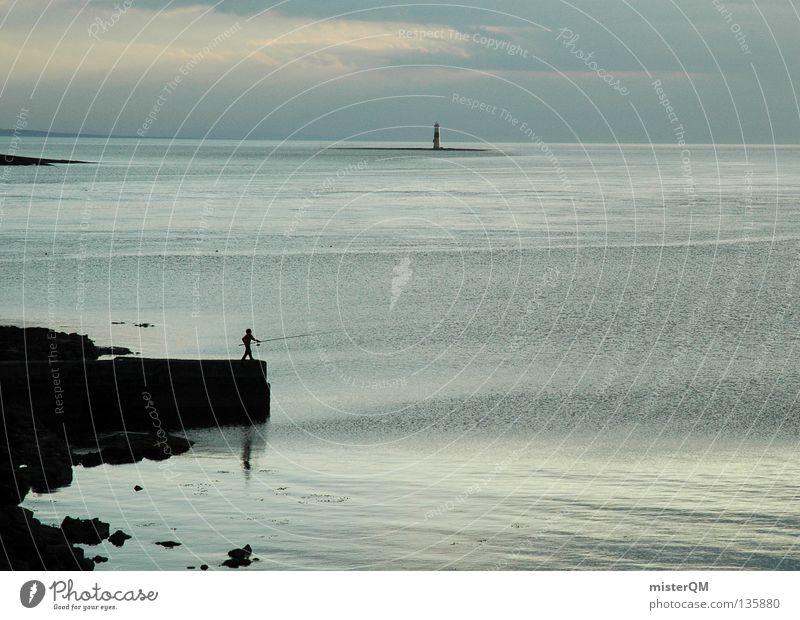 Fishing into the Waters of Doom Wasser Meer blau ruhig Einsamkeit dunkel Freiheit See Luft Stimmung Wellen frei Ende liegen Freizeit & Hobby Idylle