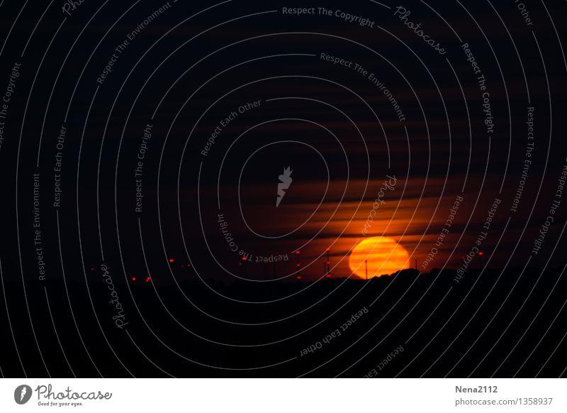 Mondaufgang II Farbfoto Außenaufnahme Menschenleer Licht Kontrast Nacht Panorama (Aussicht) Umwelt Natur Landschaft Luft Himmel Wolken Nachthimmel Horizont