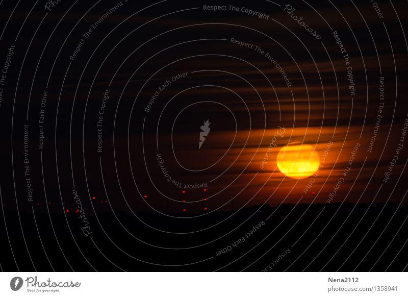 Mondaufgang III Himmel Natur Landschaft Wolken dunkel Umwelt Wärme Stimmung Horizont orange Luft ästhetisch fantastisch bedrohlich rund geheimnisvoll