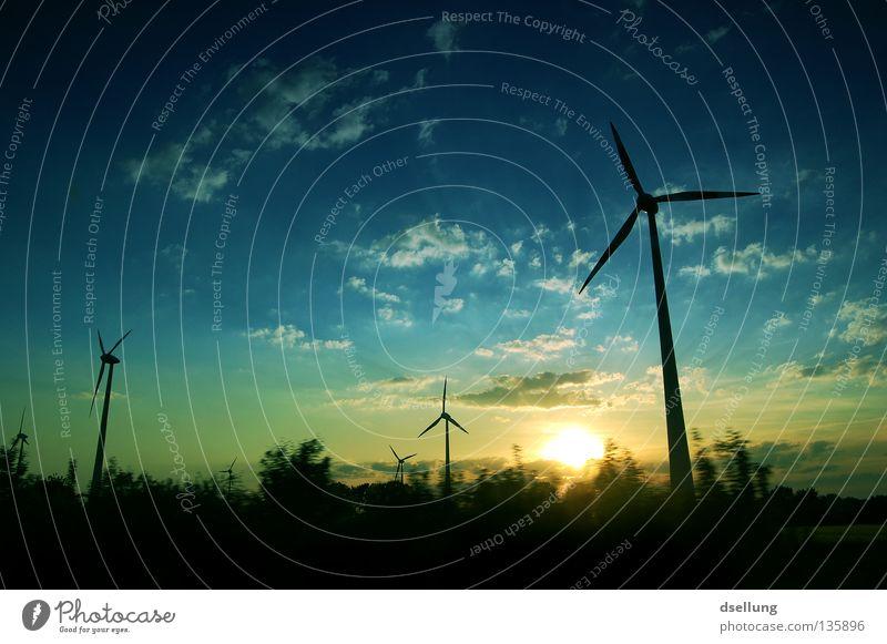 Erneuerbare Energien Himmel Sommer Baum Wolken dunkel Wohnung Energiewirtschaft Klima Geschwindigkeit Zukunft Elektrizität Sicherheit fahren Windkraftanlage