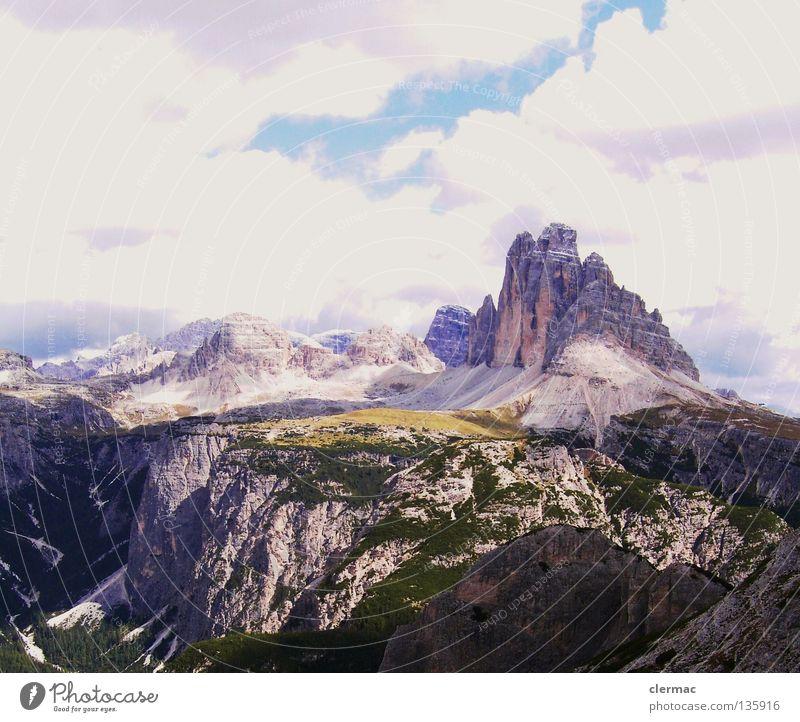 dolomiten drei zinnen vom monte piano Natur Himmel Ferien & Urlaub & Reisen Berge u. Gebirge Stein wandern Felsen Italien Klettern Klavier Bergsteigen Alm Musikinstrument Dolomiten Zinnen