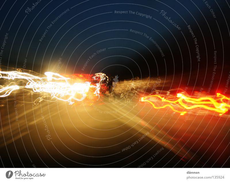 straßenlicht weiß rot Straße Farbe Lampe Spielen Wege & Pfade PKW hell orange Eisenbahn fahren Blitze Autobahn Verkehrswege Lichtspiel