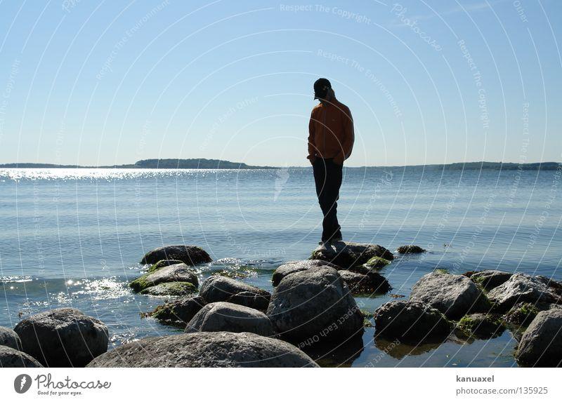 Windschatten Wasser Meer Sommer ruhig Stein Insel Ostsee