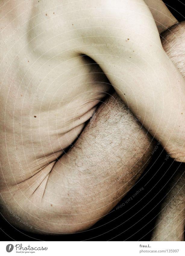 eng Mann 50 plus Oberkörper alt dünn bleich weich Mensch Achsel Leberfleck nackt verwundbar Brustkorb Gesäß durcheinander Reagenzglas Akt junger Alter Bauch