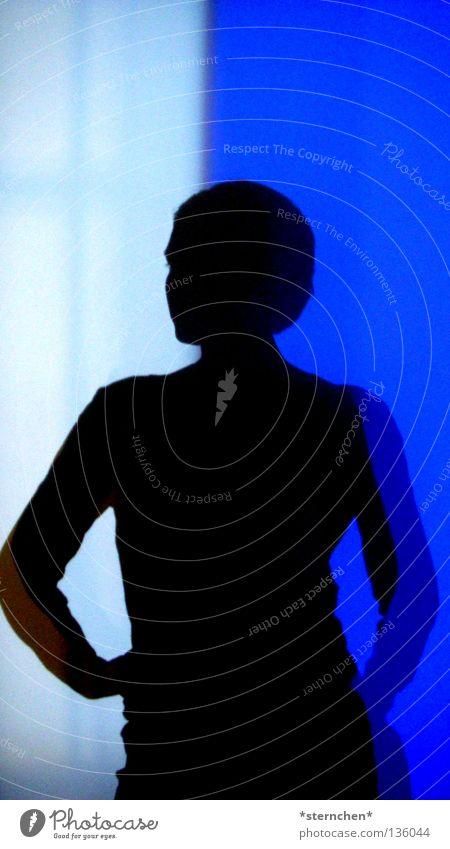 Schattenspiel Frau Mensch blau weiß schwarz Farbe Leben dunkel hell Kunst Körperhaltung Museum Lichtspiel Farbenspiel Modern Art