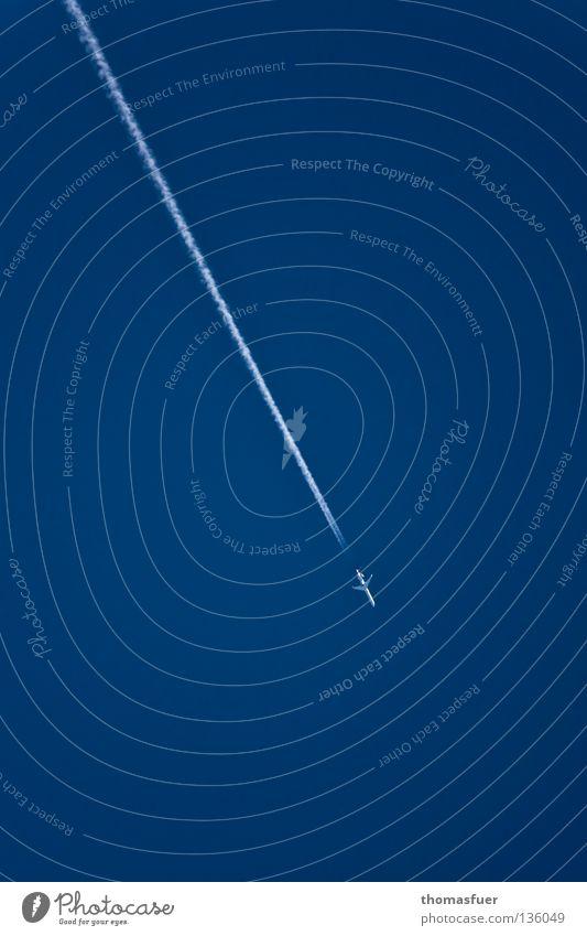 fuel is empty Himmel Angst Flugzeug Umwelt Energiewirtschaft Luftverkehr gefährlich Erdöl Schönes Wetter Panik Absturz Blauer Himmel Benzin Enttäuschung Kondensstreifen abrupt