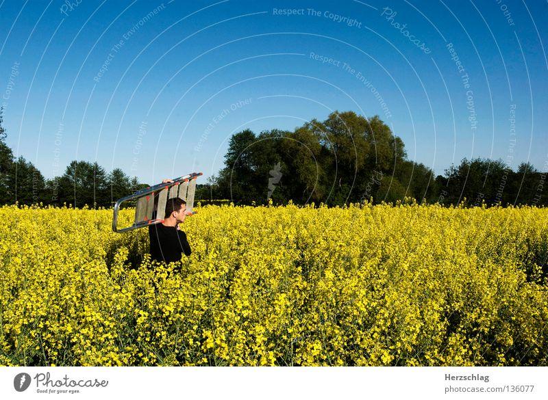 Richtung Baustelle Mann gelb Stein Sand Metall Feld dreckig silber Leiter Geruch Bauarbeiter Raps Eimer Schaufel