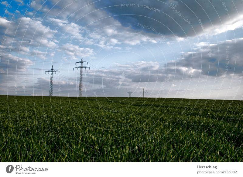 Fields Elektrizität Gras Wolken Himmel Strommast Verkehr Energiewirtschaft sky heaven light Landschaft Landscape