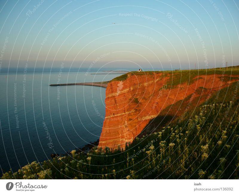 Küste Helgoland rot Meer Klippe Strand Felsen Stein Insel