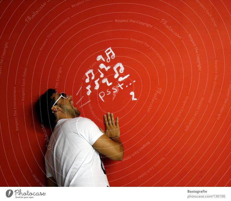 pssst rot Freude ruhig Wand Musik Musikinstrument lustig Mensch verrückt Brille Ohr Schriftzeichen streichen schreien Konzert Schmerz