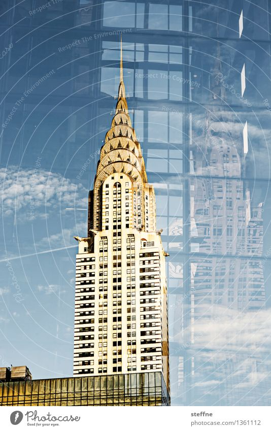Bedeutungsebenen Stadt elegant Hochhaus Schönes Wetter USA Skyline Wahrzeichen Doppelbelichtung Manhattan New York City Art deco Chrysler Building