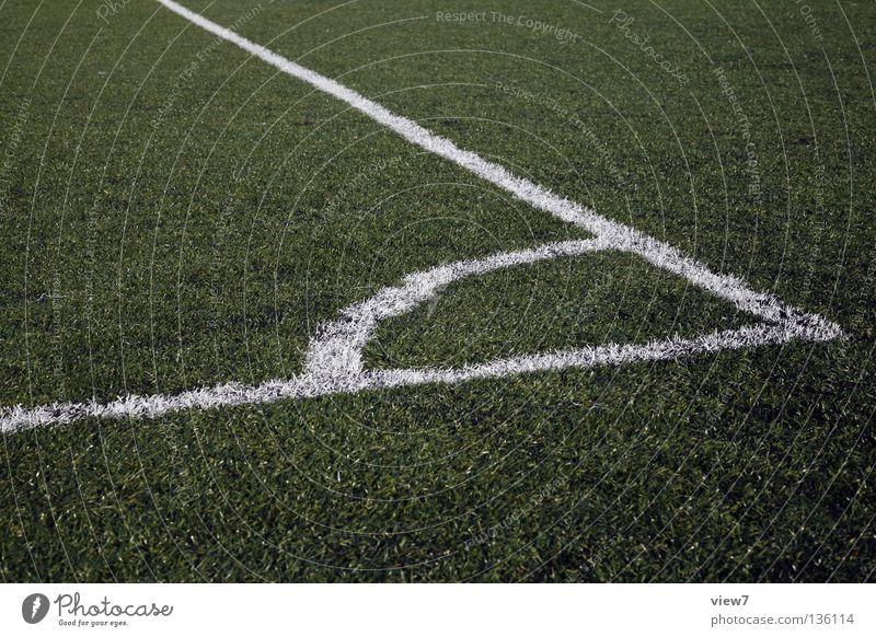 Ecke grün Freude Farbe Wiese Sport Spielen Linie Schilder & Markierungen Fußball frisch neu Kreis Ball Rasen Tor