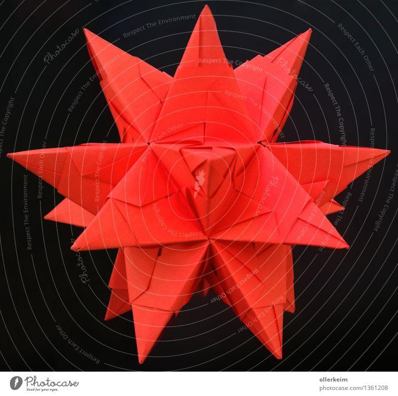 Origamie 3D-Stern rot Basteln Dekoration & Verzierung Weihnachten & Advent Kunst schwarz Stimmung Farbfoto Innenaufnahme Nahaufnahme Detailaufnahme Menschenleer