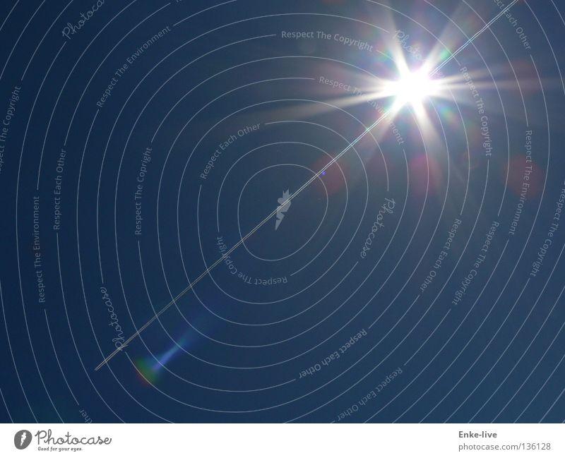 Aus der Sonne entflogen Himmel Sonne blau Sommer Beleuchtung Flugzeug Luftverkehr Abgas Schönes Wetter grell Erkenntnis Himmelskörper & Weltall Durchbruch Kondensstreifen