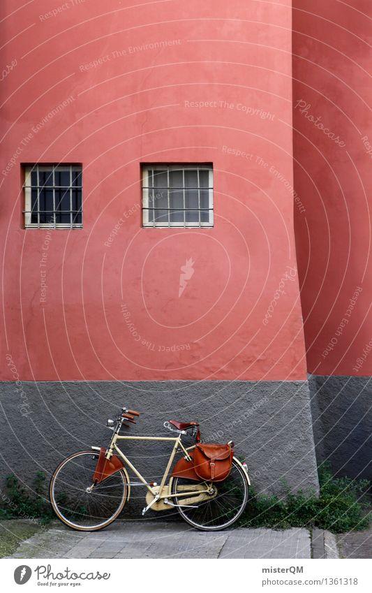 Radl. Kleinstadt ästhetisch gehen Fahrrad Mauer Fahrradtour Fahrradlenker Fahrradsattel Fahrradausstattung Hinterhof dezent Fenster rot Farbfoto Gedeckte Farben