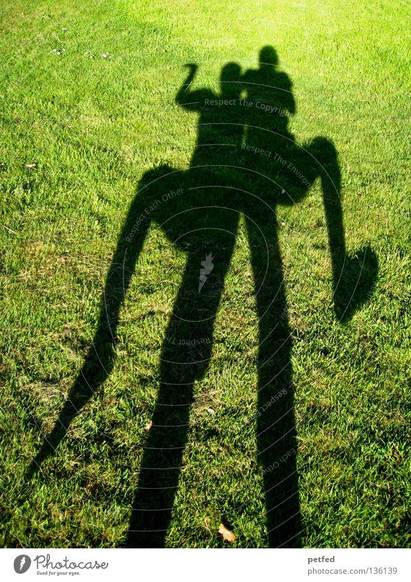 Ägyptischer Tanz Wiese Gras Licht grün schwarz biegen bücken unten schmal lang obskur Mensch Schatten Sonne Freude lustig Natur Leben Fun Beine Arme oben