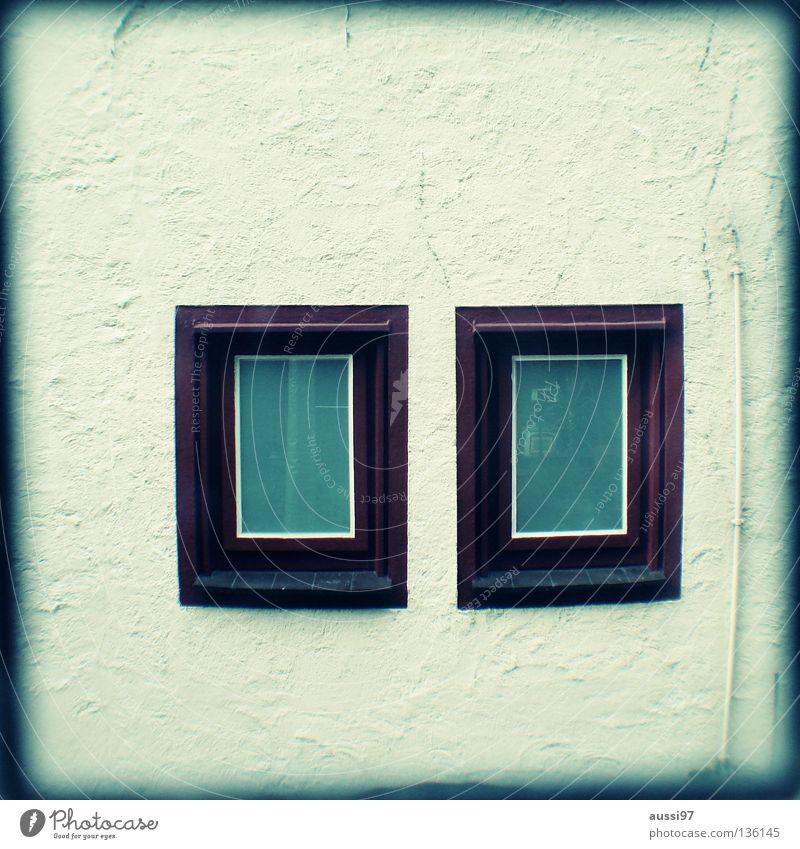Doppelkabine Fenster schemenhaft Raster Muster analog Sucher umrandet Rahmen Detailaufnahme Häusliches Leben zwei Fenster Lichtschacht Lichtschachtsucher