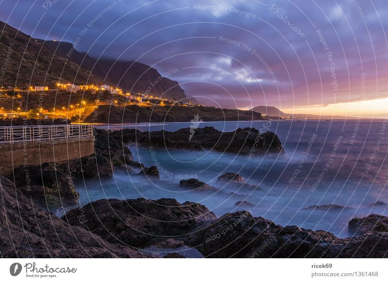 Sonnenuntergang Natur Ferien & Urlaub & Reisen blau Wasser Meer Landschaft Wolken Berge u. Gebirge Küste Felsen Tourismus Idylle Aussicht Romantik Spanien