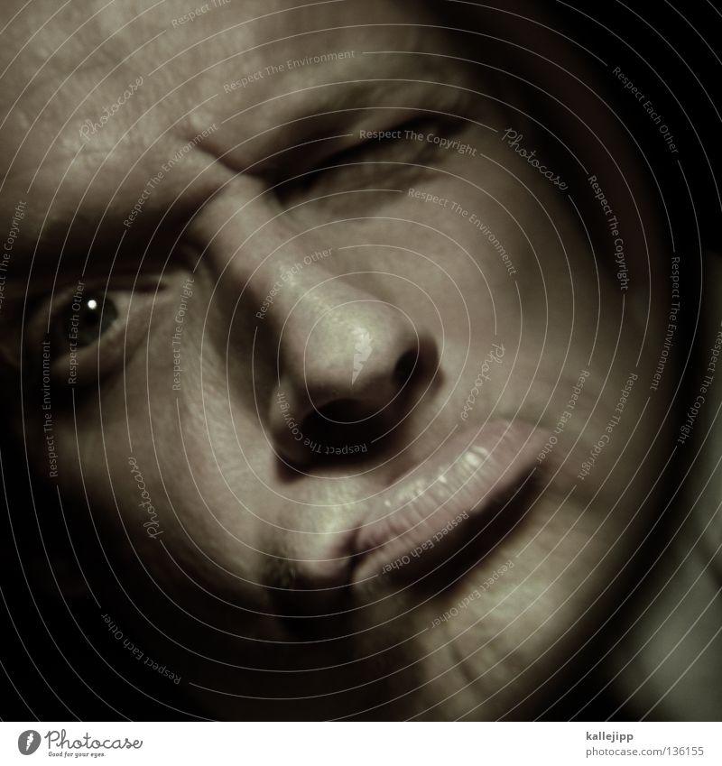 schmollmund Mann dental schmollen Zahnarzt schreien vergrößert Zoomeffekt Optiker Pupille Angst Rauschmittel entdecken Suche Tunnel Fischauge Gefühle Mensch