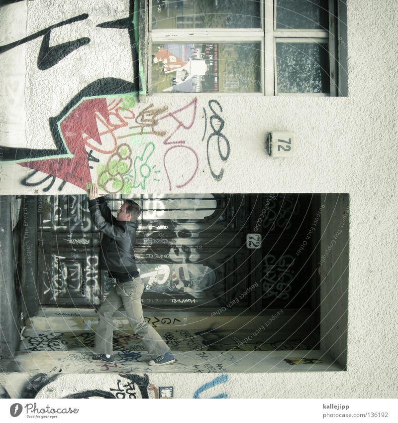 zweiundsiebzig Mann Silhouette Dieb Krimineller Rampe Laderampe Fußgänger Schacht Tunnel Untergrund Ausbruch Flucht umfallen Fenster Parkhaus Geometrie 3