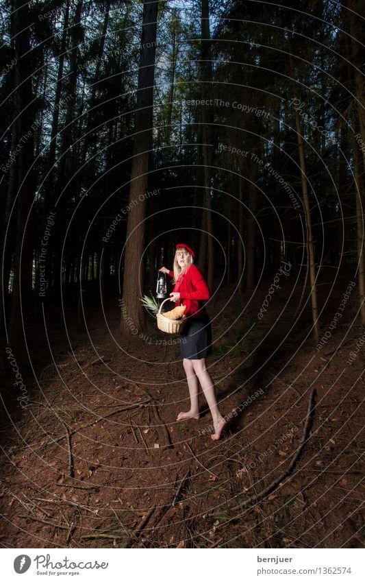 Rotkäppchen Mensch feminin Junge Frau Jugendliche 1 18-30 Jahre Erwachsene Natur Erde Sommer Baum Wald laufen schön einzigartig braun rot authentisch Angst