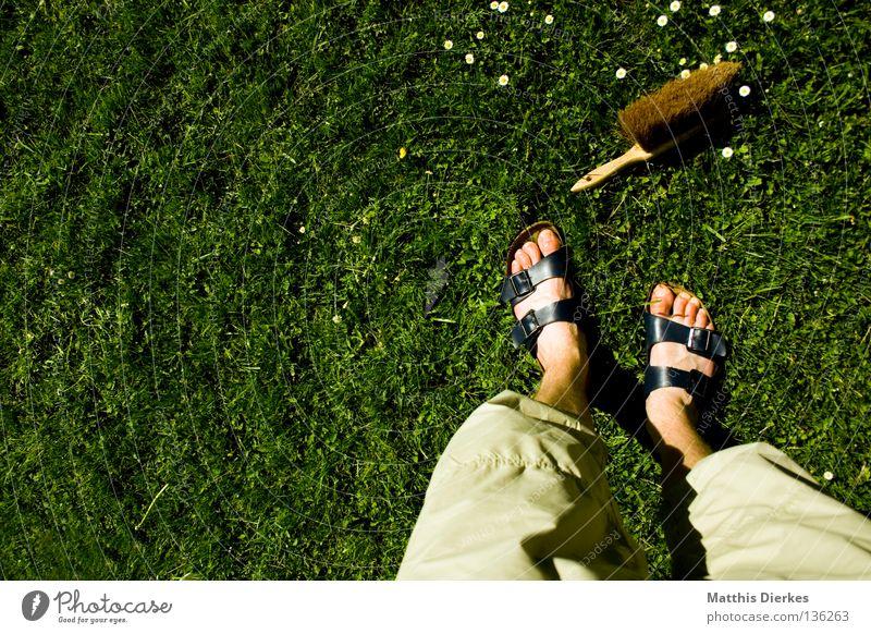 Was du heute kannst besorgen... Besen Kehren Reinigen Putz Schatten Selbstportrait Staubwischen Wiese Gänseblümchen Frühjahrsputz Frühling aufräumen