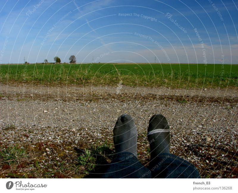 Sockenproblematik II Kondensstreifen Himmel zyan grün Gras Strümpfe Verschiedenheit 2 schwarz Streifen Baum Kies grau Hose dunkel Frühling Sommer Pause lüften