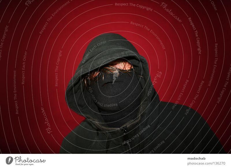 MODELRELEASE Mensch Mann Jugendliche rot schwarz Haare & Frisuren Kraft blond Bekleidung Maske trashig verstecken Dieb anonym Kapuze