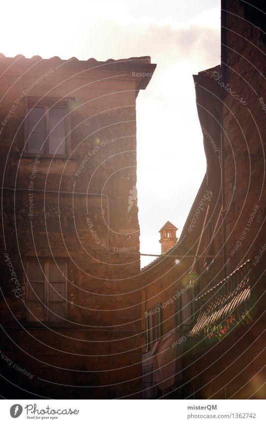 Gasse in Lucca. Kunst ästhetisch mediterran Italien Italienisch Kleinstadt Dorf Idylle Süden Farbfoto mehrfarbig Außenaufnahme Experiment abstrakt Menschenleer