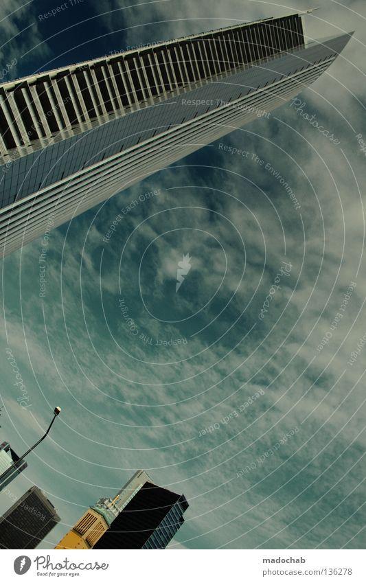 SKYDIVE Himmel Stadt Wolken Haus Architektur Gebäude Hochhaus Perspektive hoch groß Beton Macht Bauwerk Etage Frankfurt am Main beeindruckend