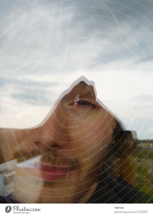 hä? Himmel Mann Wolken Gesicht Haus Fenster Spielen Haare & Frisuren Mund Tür Glas maskulin Freundlichkeit Bart Typ