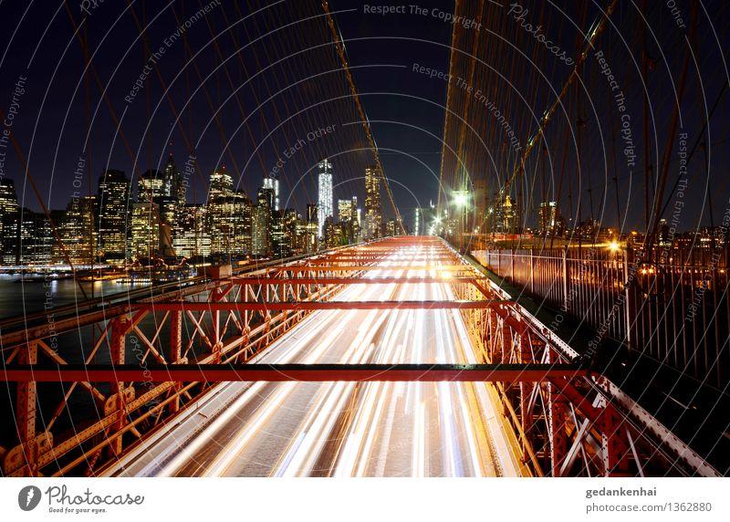 Verkehrsfluss Hauptstadt Skyline Hochhaus Brücke Gebäude Personenverkehr Autofahren gebrauchen Fortschritt Autobahn Datenautobahn Farbfoto Außenaufnahme Nacht