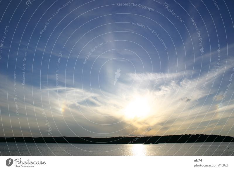 Himmel über Tollensesee Wolken Weitwinkel See Sonne blau Wasser