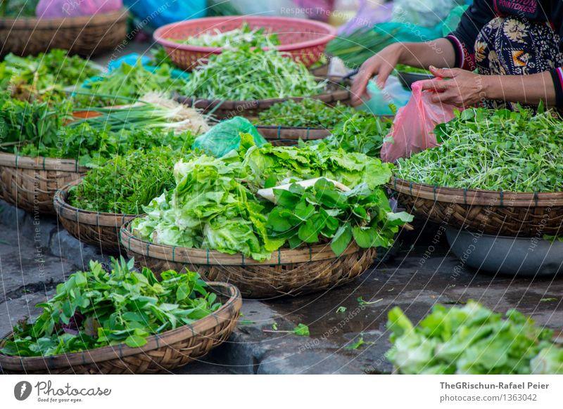 Gemüse blau grün weiß rot Lebensmittel braun rosa frisch violett Markt Salatbeilage verkaufen Korb Händler