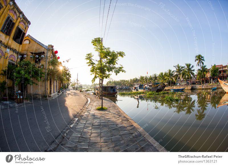 Good Morning Vietnam Landschaft blau gold grau grün orange schwarz weiß Hoi An Sonnenaufgang Gegenlicht Haus Fischauge Baum Palme Straße Fischerdorf