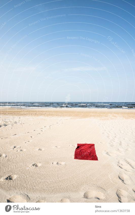 Platzverhältnisse Handtuch Strand Ostsee Usedom Ferien & Urlaub & Reisen Einsamkeit Menschenleer Sand Meer maritim Sonne Sommer