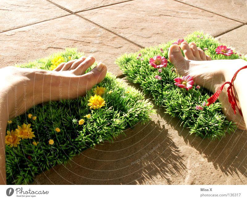 Plastik-Latschen Farbfoto Außenaufnahme Detailaufnahme Ferien & Urlaub & Reisen Sommer Wohnung Garten Fuß Frühling Blume Gras Blüte Balkon Terrasse gelb grün