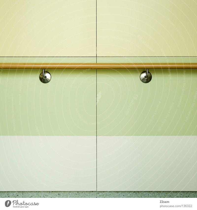 BERUFSKRANKHEIT graphisch Quadrat Linie Muster grün Pastellton gelb beige Holz abstrakt einfach Hintergrundbild technisch Wand Stil Dinge Geländer silber Farbe