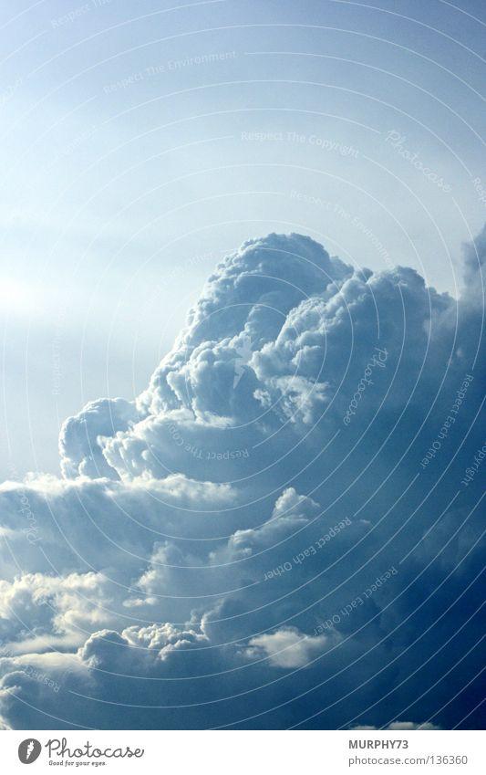 Ich seh, ich seh was du nicht siehst......... Himmel blau weiß Wolken Stimmung hoch Luftverkehr Fantasygeschichte hell-blau Kumulus