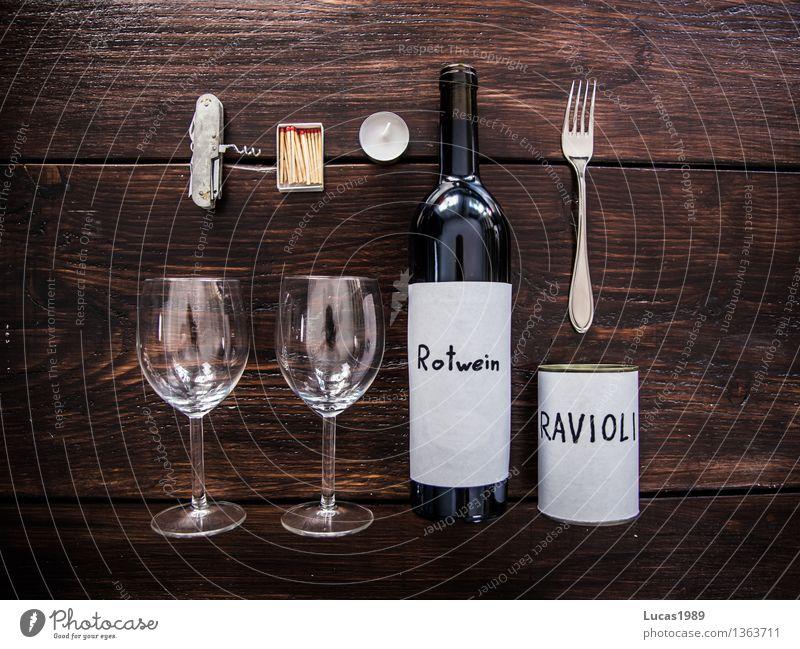 romantisches Abendessen Lebensmittel Ernährung Essen Mittagessen Festessen Slowfood Getränk Wein Flasche Glas Besteck Lifestyle kaufen elegant Stil Design