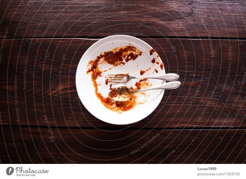 Nudeln mit Tomatensoße - Danach - Super Still Life weiß rot Essen Lebensmittel braun dreckig Ernährung Kochen & Garen & Backen Reinigen Küche lecker Restaurant Appetit & Hunger Teller Mahlzeit Abendessen