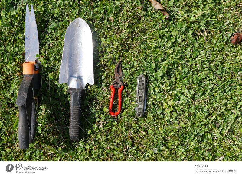Aufgeräumt 1 Natur grün rot schwarz Gras Garten orange Werkzeug silber fleißig Schere diszipliniert gebrauchen Ordnungsliebe Super Stillleben