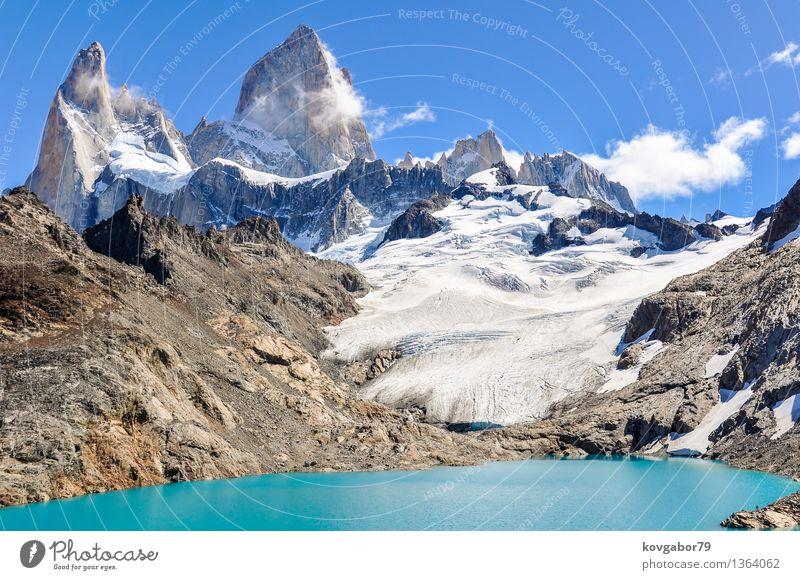 Der Agoon, Fitz Roy Walk, El Chalten, Patagonien, Argentinien Himmel Natur blau Landschaft Berge u. Gebirge Schnee See Felsen Park wandern Aussicht Klettern