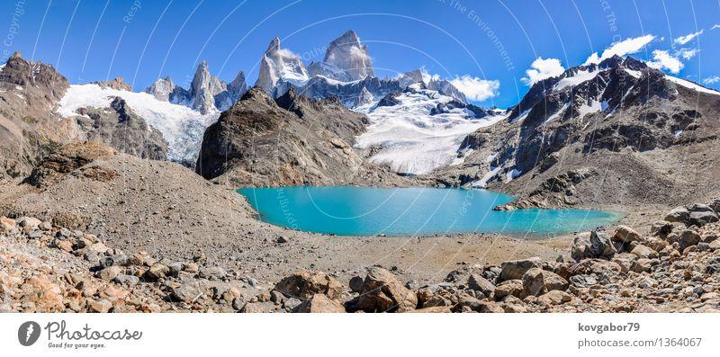 Panorama, Fitz Roy in der Nähe von El Chalten, Argentinien Himmel Natur blau Landschaft Berge u. Gebirge Schnee See Felsen Park wandern Aussicht Klettern Süden